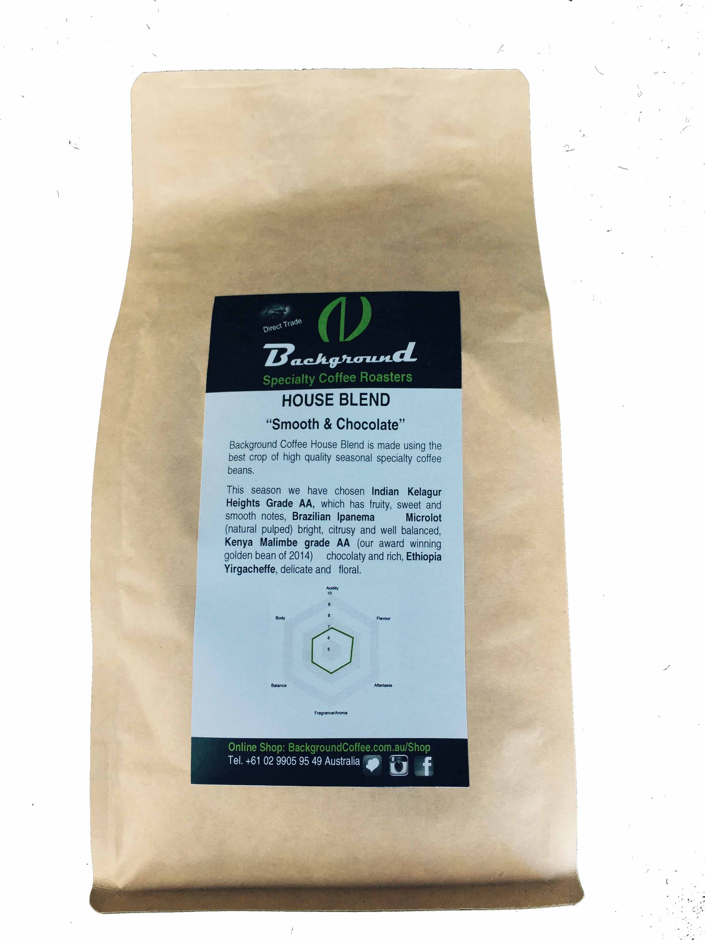 Background Speciality Coffee Roasters House Blend 1kilo